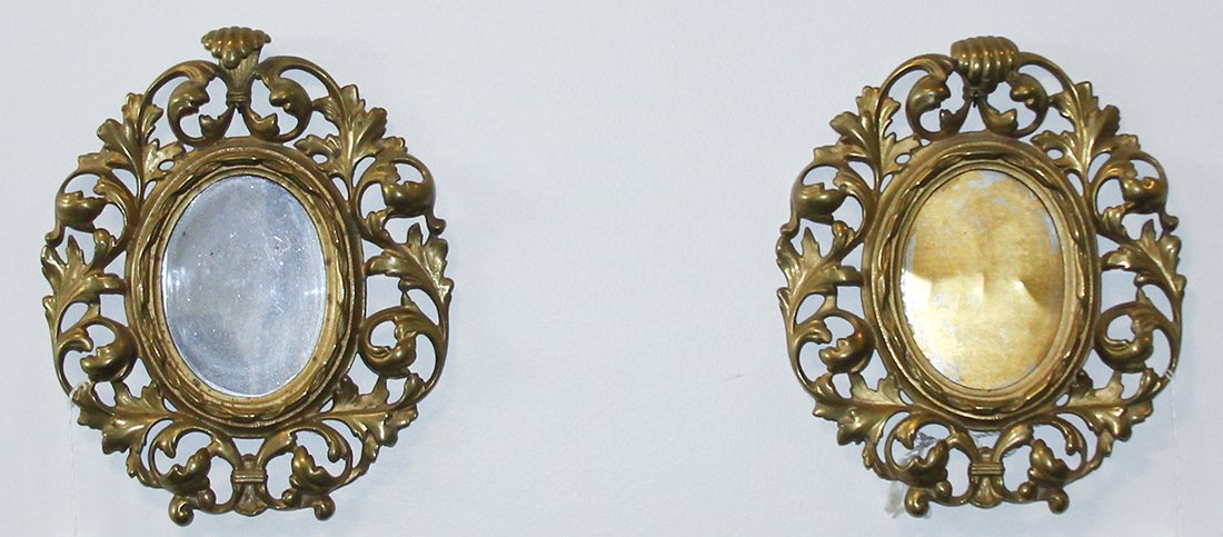 A Pair of Rococo Style Brass Frames, Height 11 1/4 inch