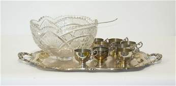 An American Brilliant Period Cut Glass Punch Bowl Diam
