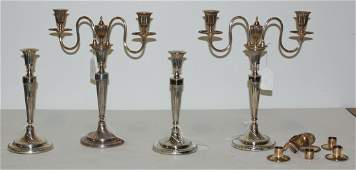 A Set of Four Sheffield Plate Candlesticks Height of f