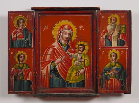 722: A Greek Painted Wood Icon Triptych,