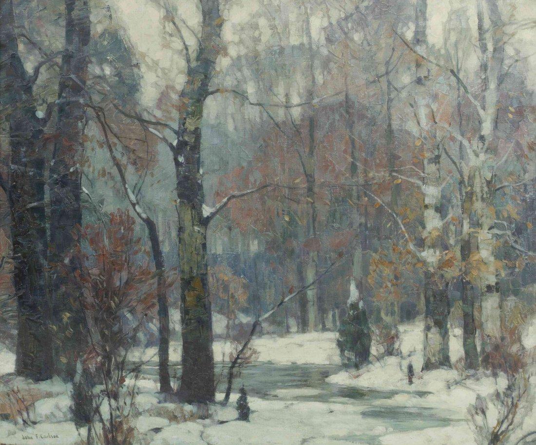John Fabian Carlson, (American, 1875-1947), Silvered Wo