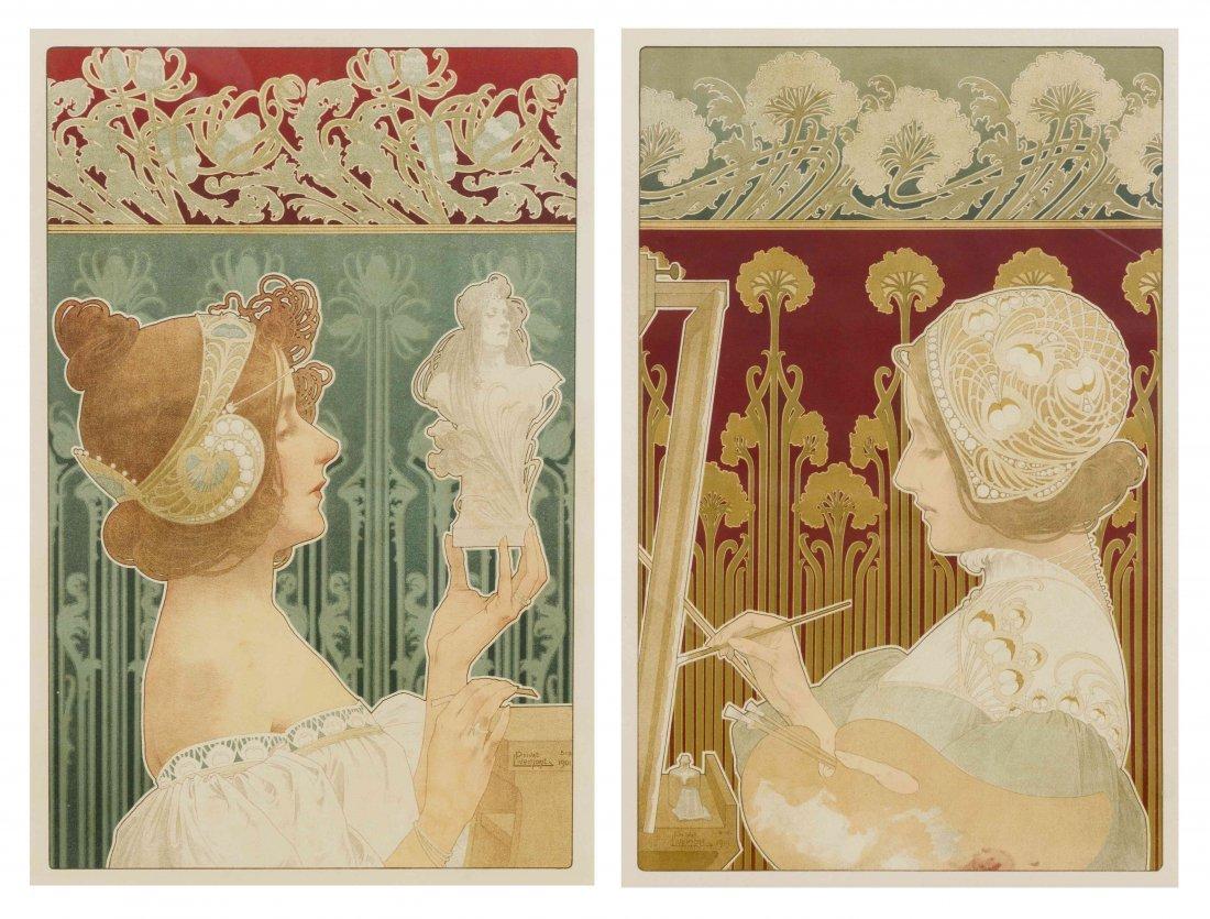 Henri Privat-Livemont, (Belgian, 1861-1936), A Pair of