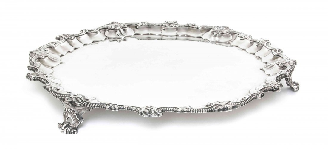 A George II Silver Tray, Dorothy Mills, Diameter 14 3/8
