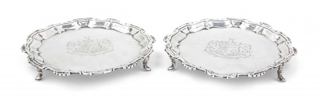 A Pair of George III Silver Salvers, William Peaston, D