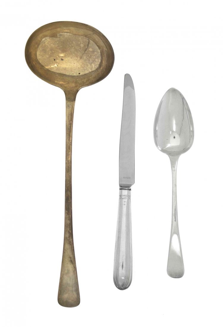 An English Silver Assembled Partial Flatware Service, L