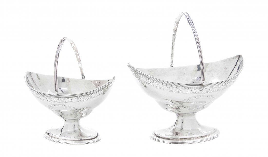 A Near Pair of George III Silver Sugar Baskets, Peter &