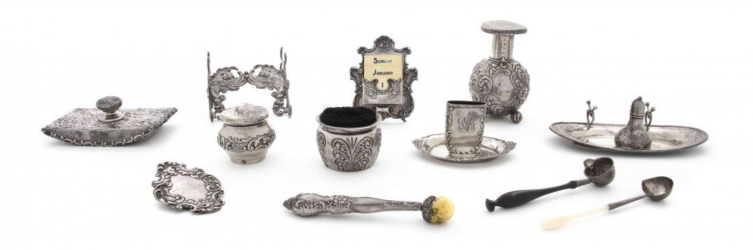 A Collection of American Sterling Silver Desk Articles,