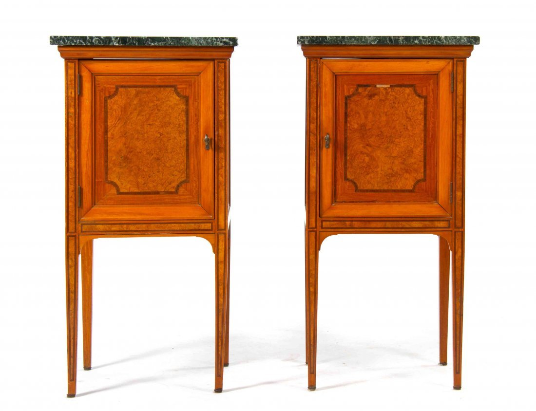 A Pair of Burlwood and Marble Night Stands, Height 31 3