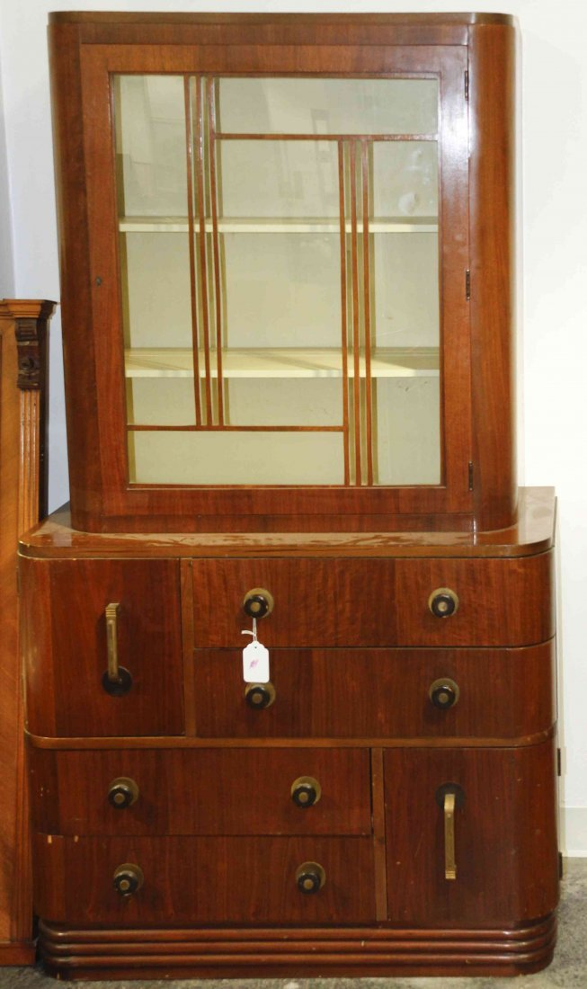 An American Mahogany Art Deco Cabinet, Height 64 1/4 x