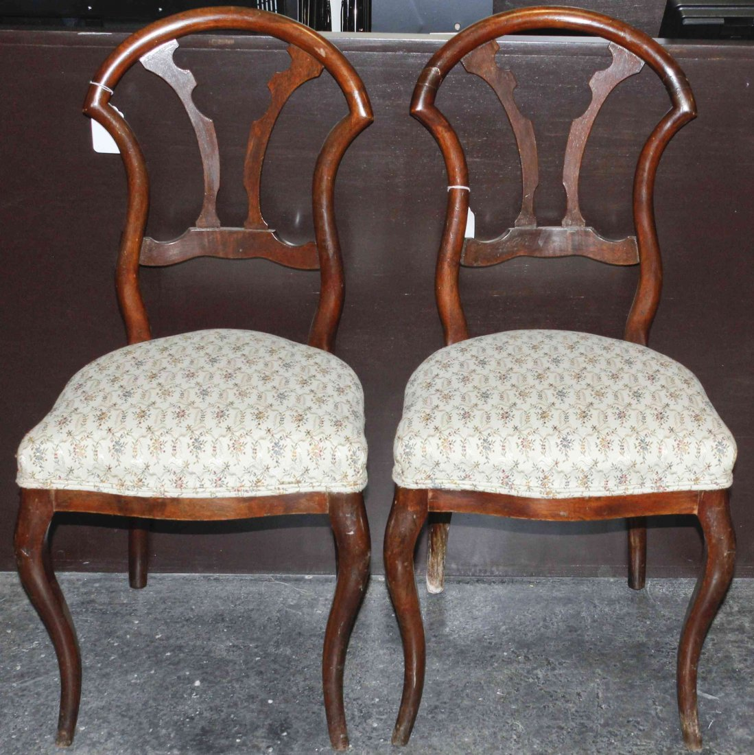 A Pair of Mahogany Side Chairs, Height 33 7/8 inches.
