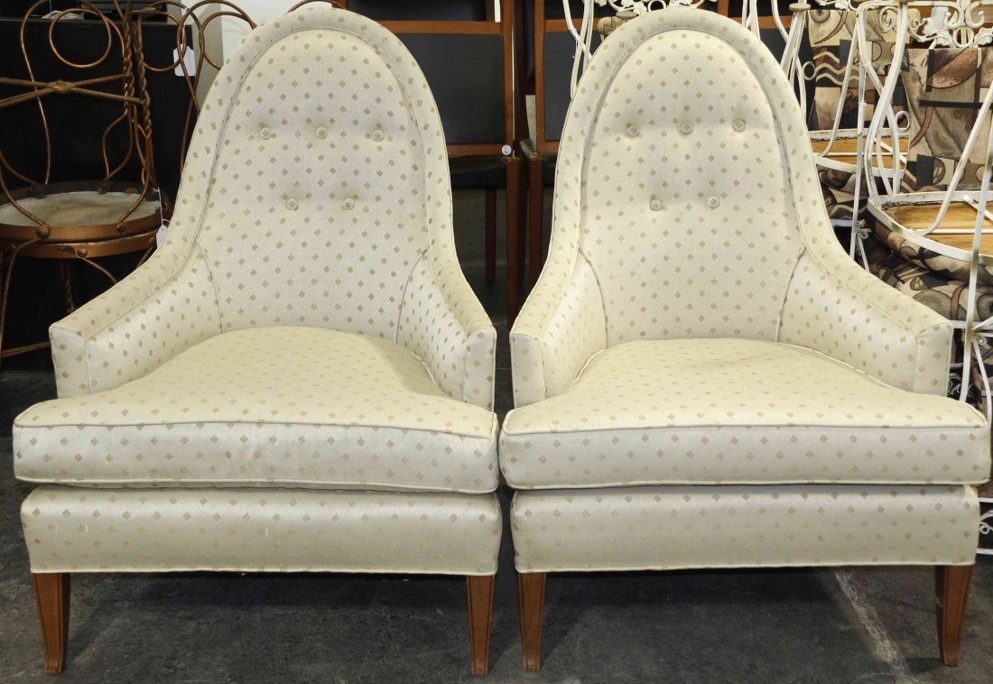 A Pair of Upholstered Armchairs, Height 36 1/2 inches.