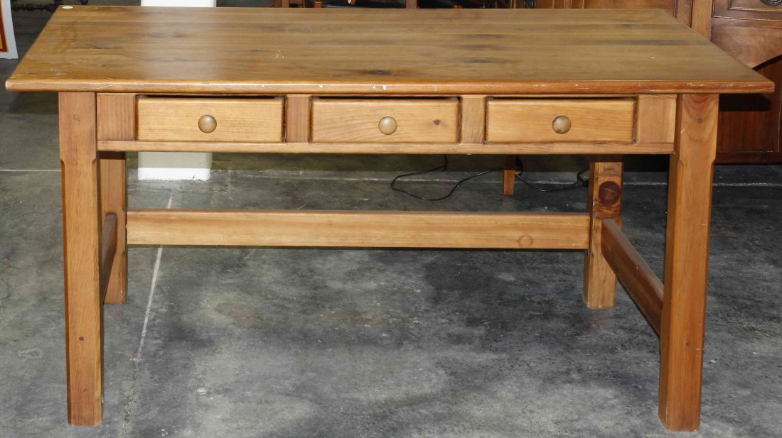 A Pine Harvest Work Table, Height 30 1/8 x width 59 7/8