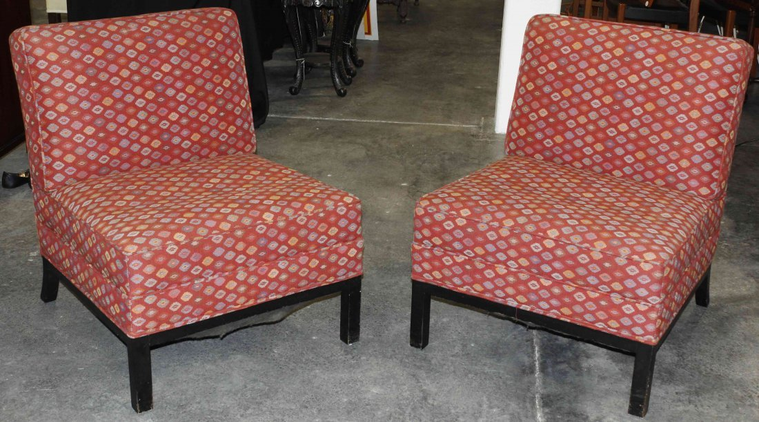 A Pair of Upholstered Lounge Chairs, Height 32 inches.