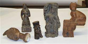 A Collection of Five Carved Wood Decorative Articles, H