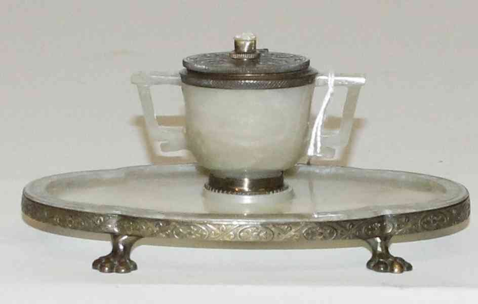 A Chinese Hardstone and Bronze Inkwell, Width 6 1/2 inc