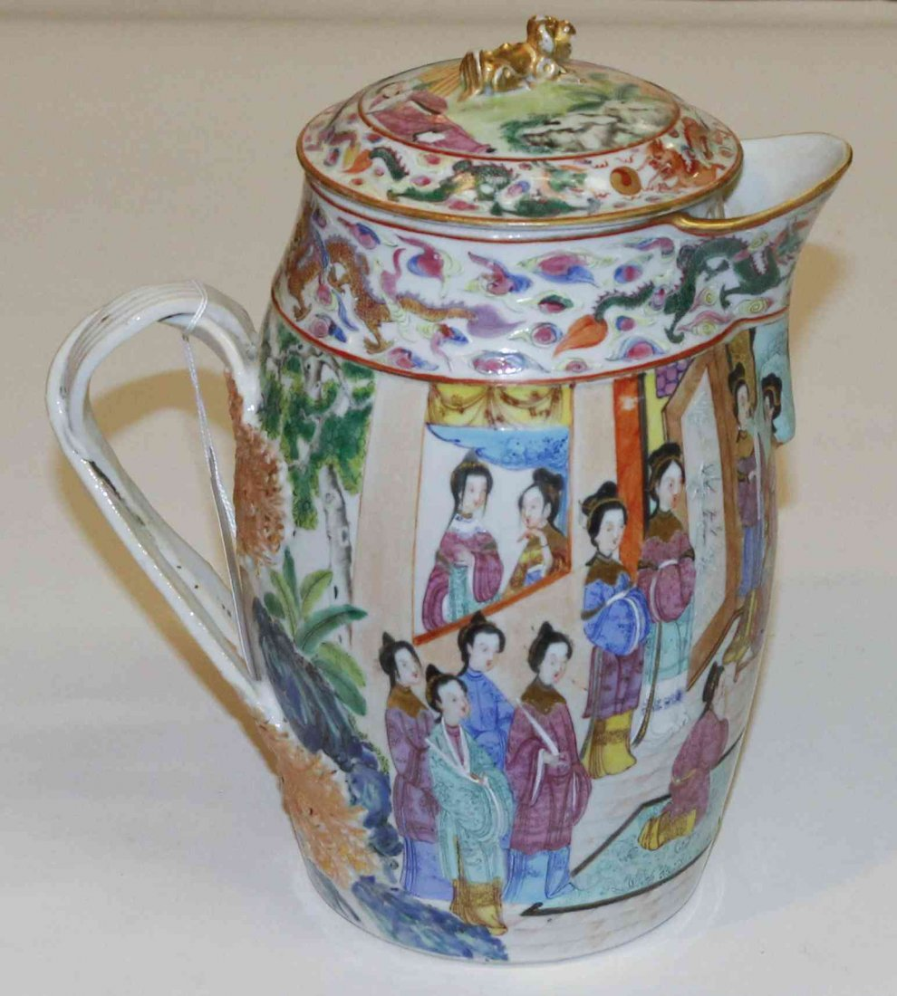 A Chinese Export Porcelain Pitcher, Height 10 1/4 inche
