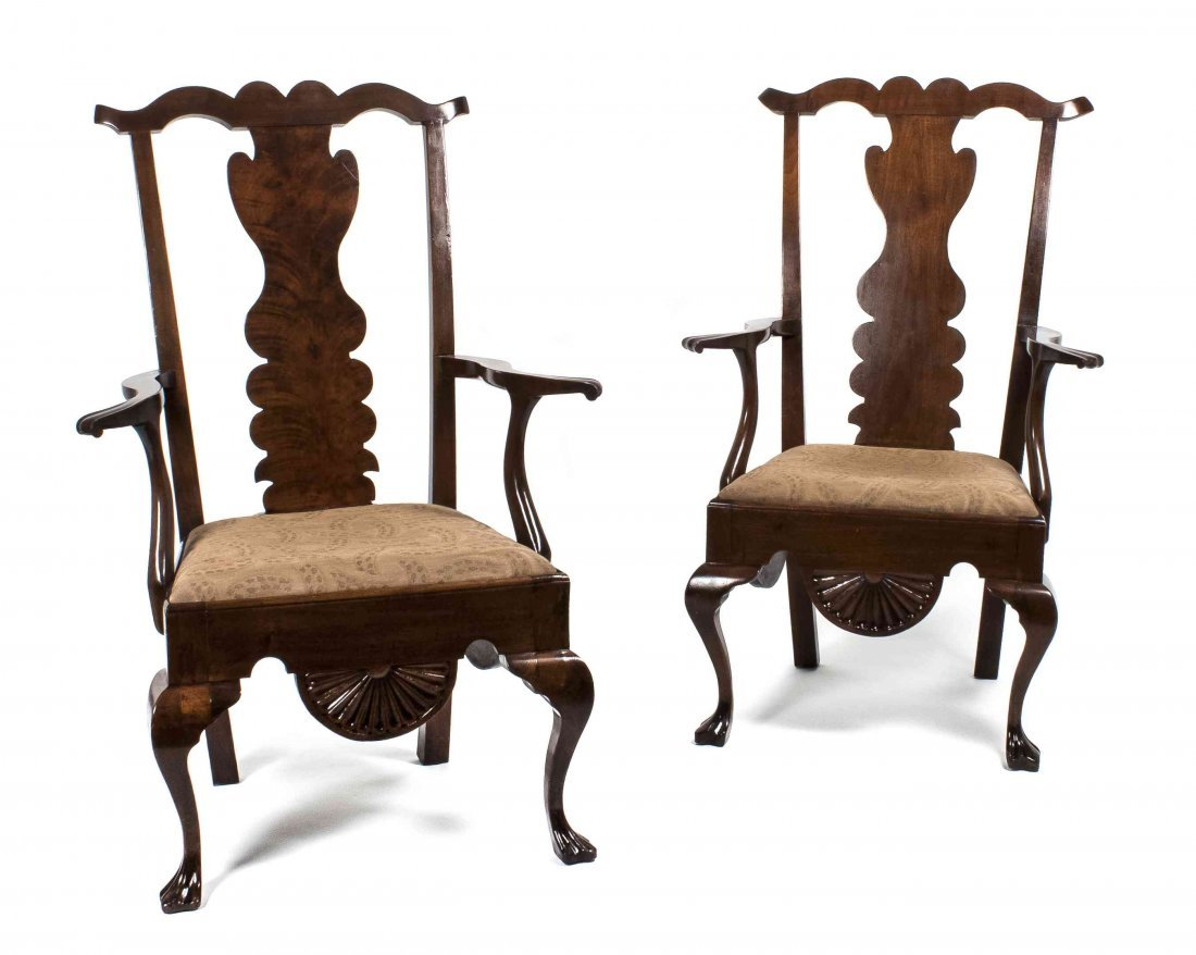 A Pair of Chippendale Style Mahogany Urn Back Arm Chair