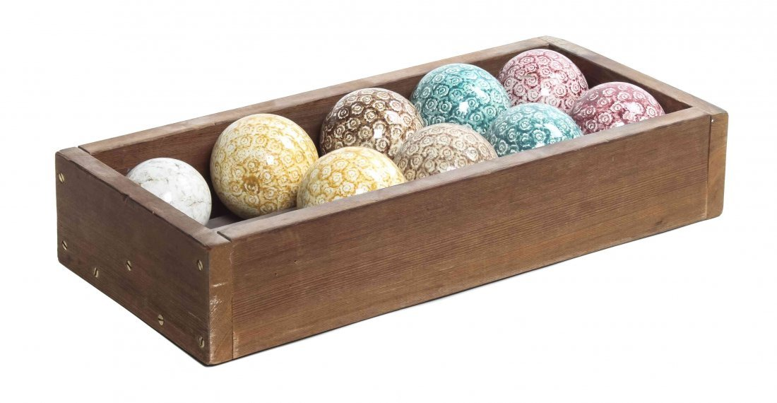 A Set of Eight English Earthenware Carpet Balls, Circum