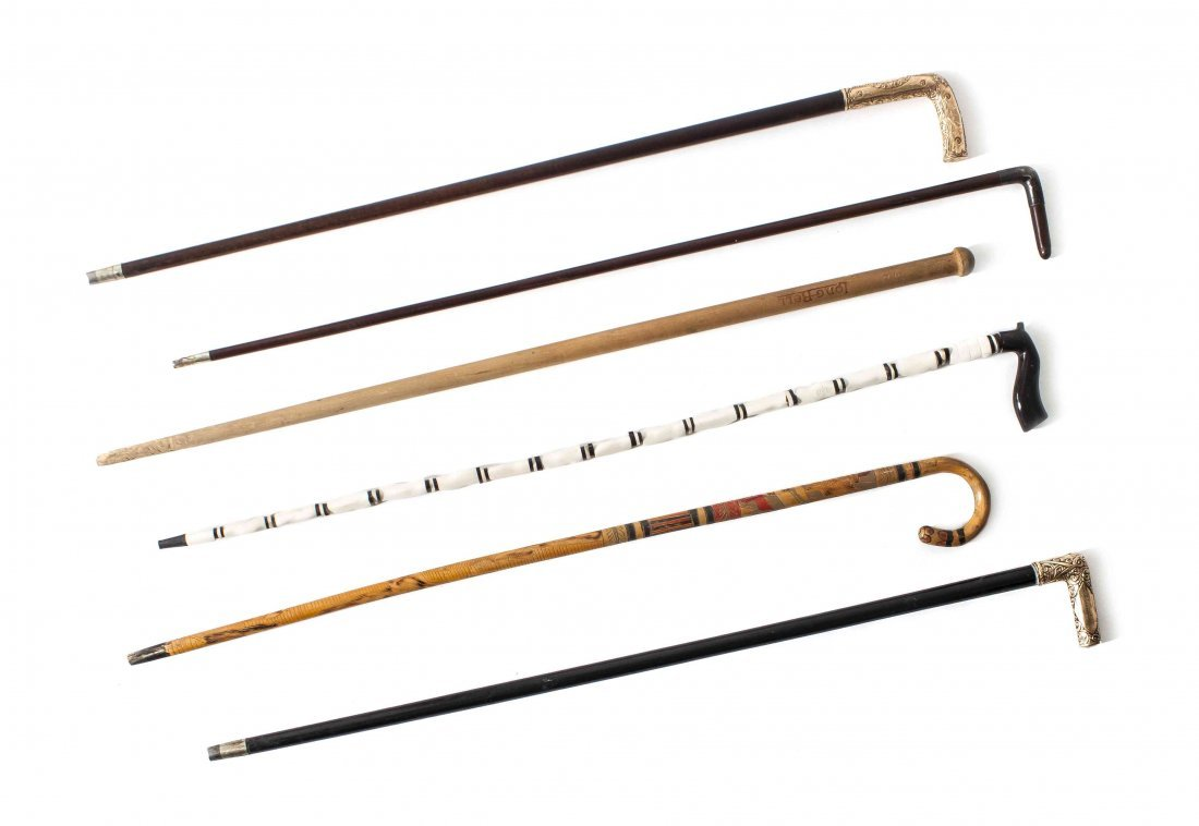 A Collection of Six Walking Sticks, Length of longest 3