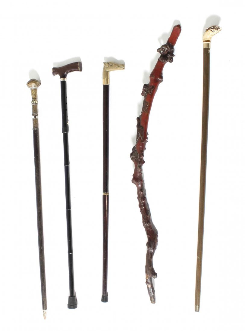 A Collection of Five Walking Sticks, Length of longest