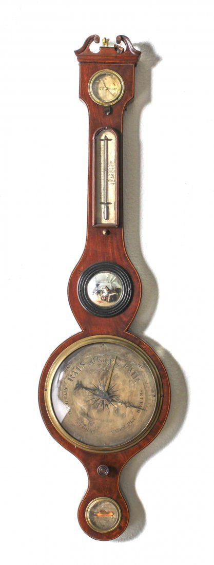 An English Mahogany Wheel Barometer, A. Ortelli, Height
