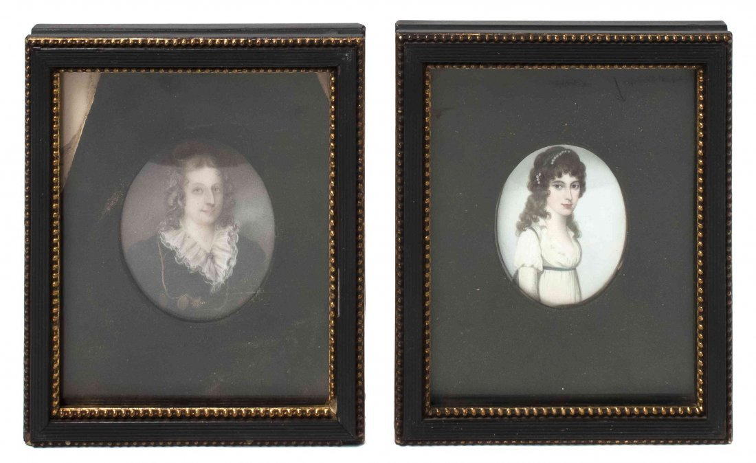 Two English Portrait Miniatures, Height of first 2 1/4