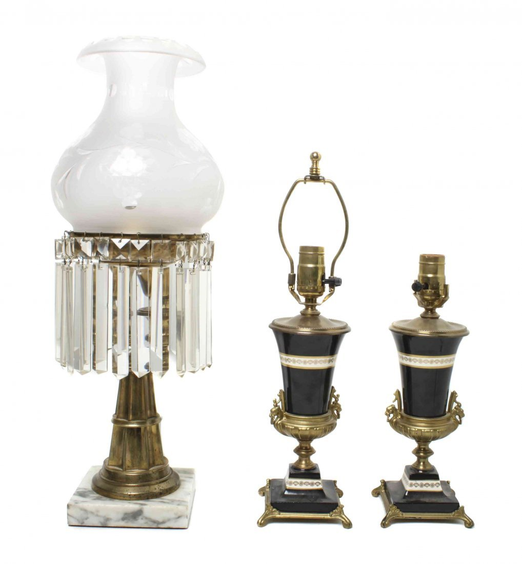 Three Victorian Table Lamps, Height of tallest 22 1/4 i