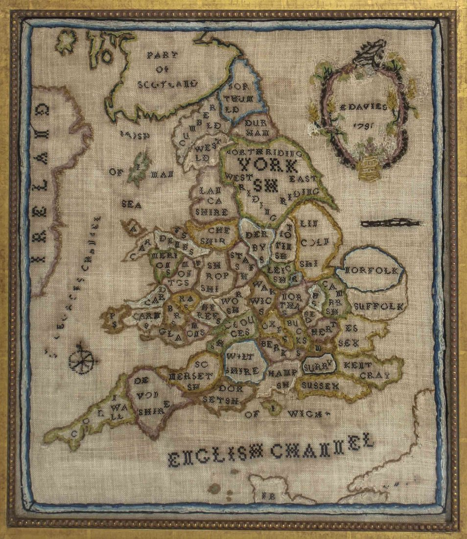 An English Needlepoint Sampler, E. Davies, Height 18 x