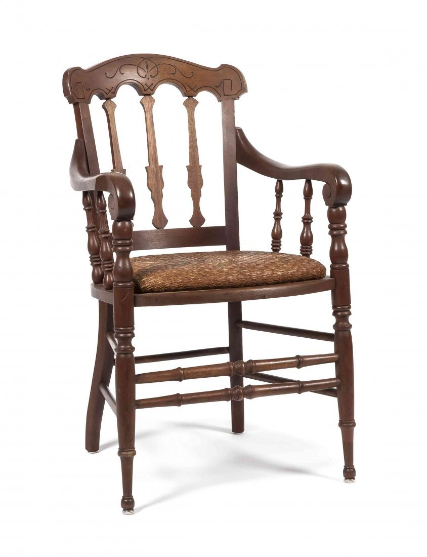 A Victorian Renaissance Revival Walnut Armchair, Height