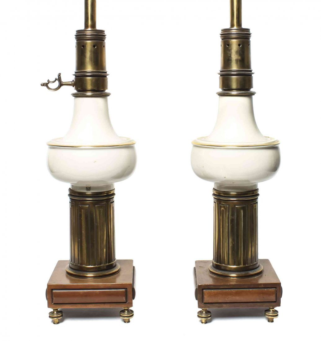 A Pair of Porcelain and Brass Table Lamps, Height 21 in