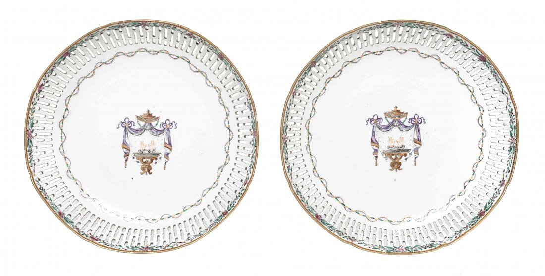 A Pair of Chinese Export Armorial Plates, Diameter 9 5/