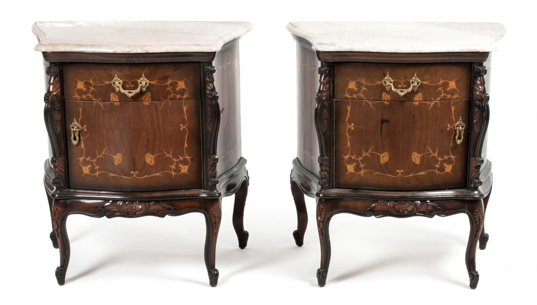 A Pair of Louis XVI Style Marquetry and Gilt Mounted Co