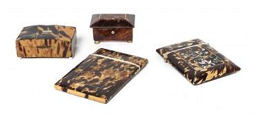 A Collection of Four Tortoise Shell Items, Height of la