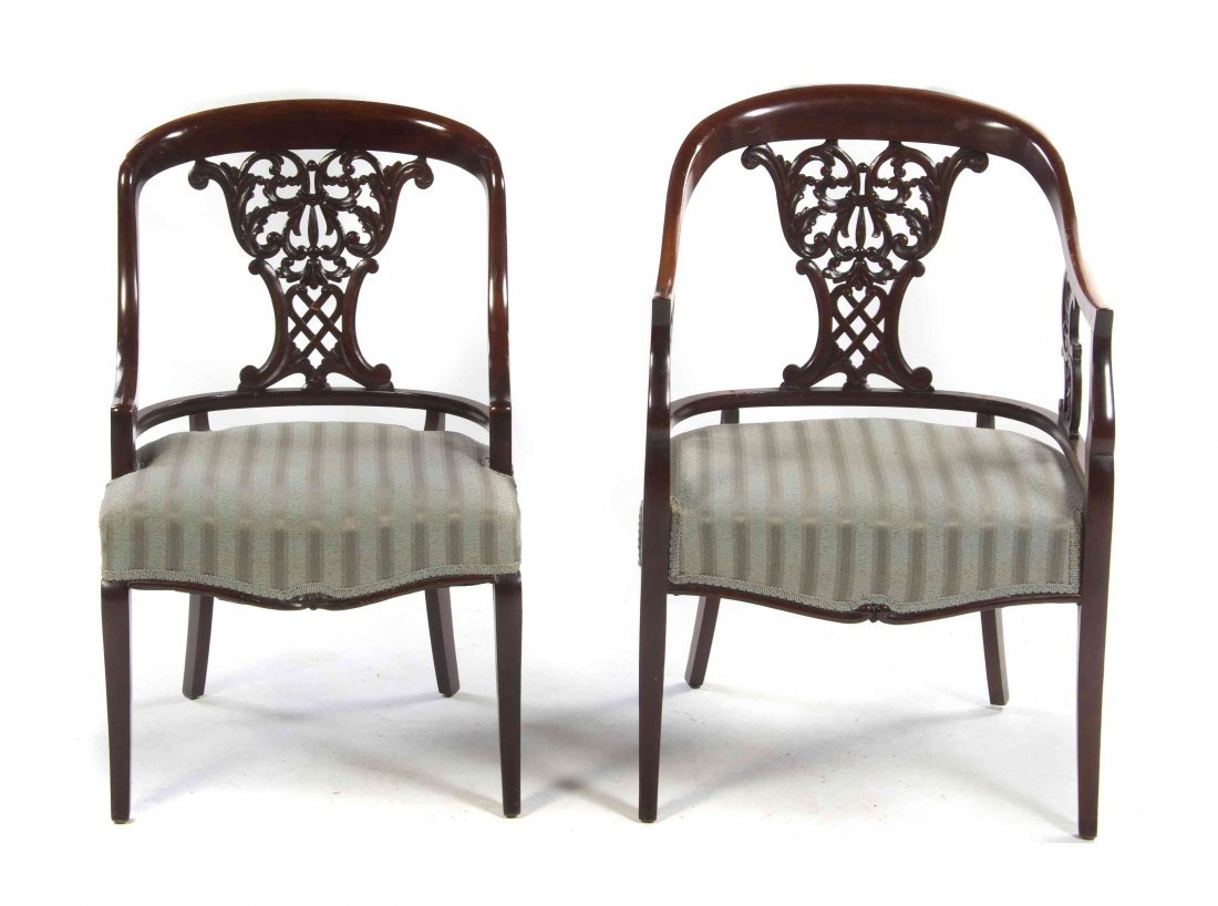 Two Victorian Mahogany Open Armchairs, Height 33 1/2