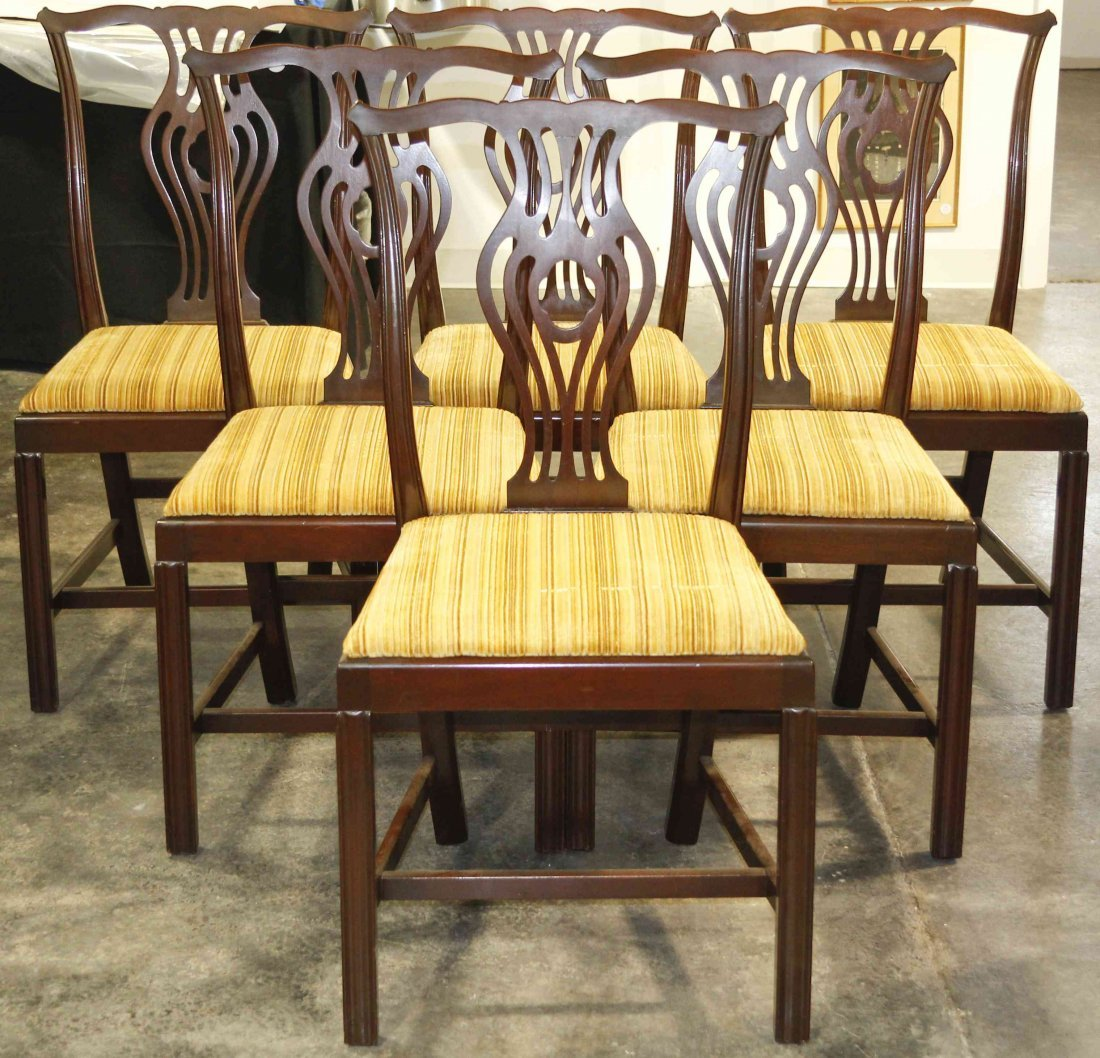 Six Chippendale Style Mahogany Side Chairs, Height 37