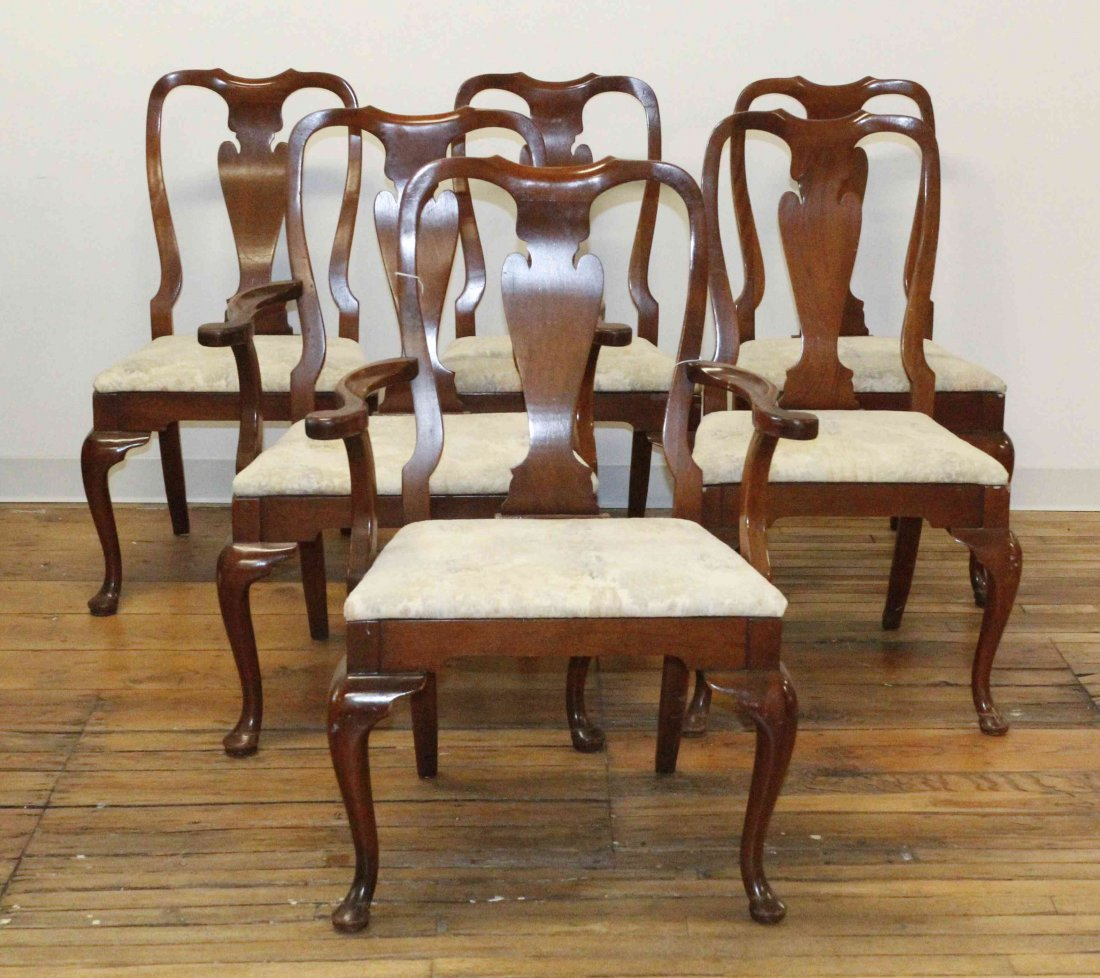 A Set of Six Queen Anne Style Chairs, Height of