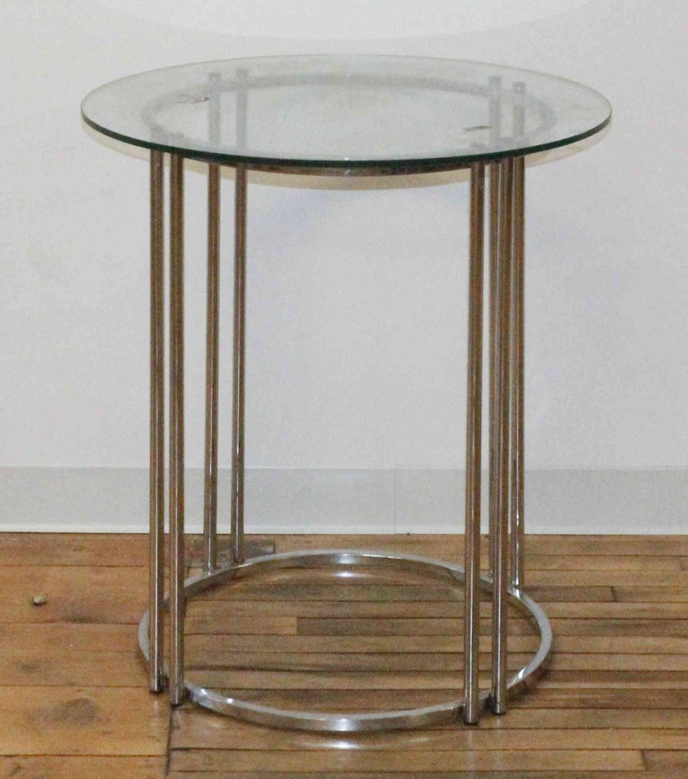 A Contemporary Chrome and Glass Occasional Table,