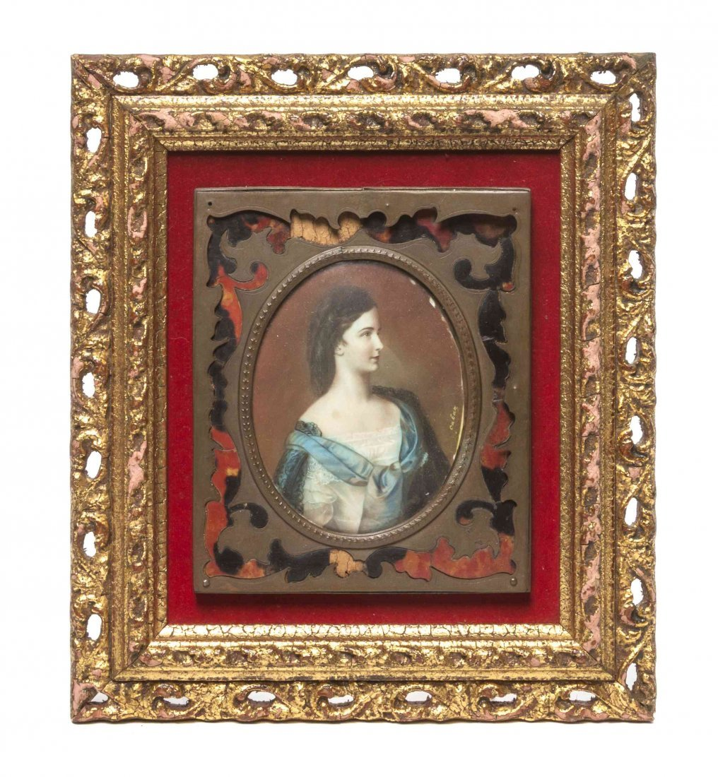 A Continental Portrait Miniature, Height overall 8 x