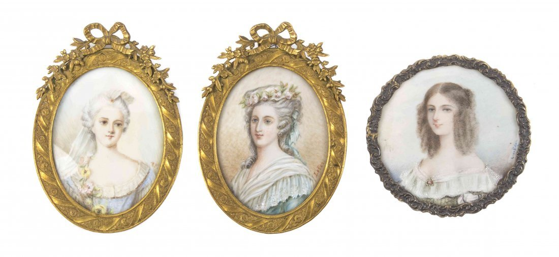 A Collection of Three Continental Portrait Miniatures,