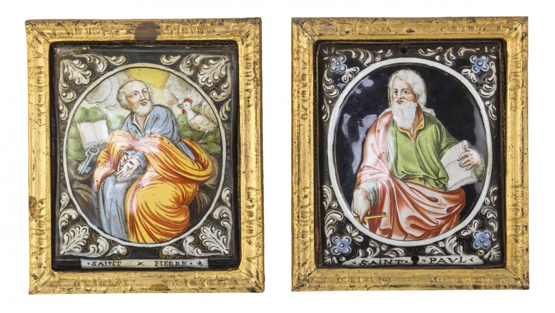 A Pair of Continental Enameled Plaques, Height 4 1/4 x
