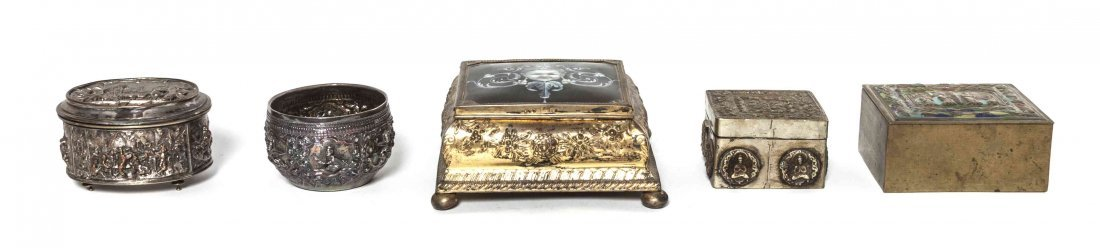 A Continental Enameled Table Casket, Width of first 5