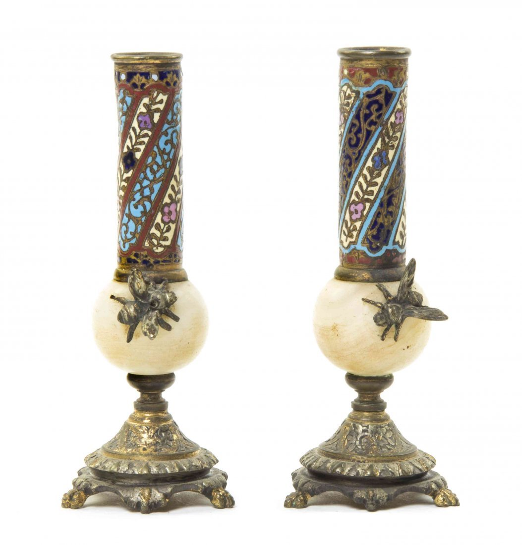 A Pair of Continental Champleve, Onyx and Gilt Metal