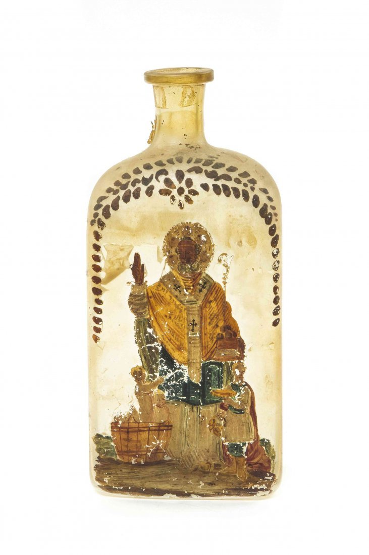 A Blown Glass Bottle, Height 10 1/8 inches.