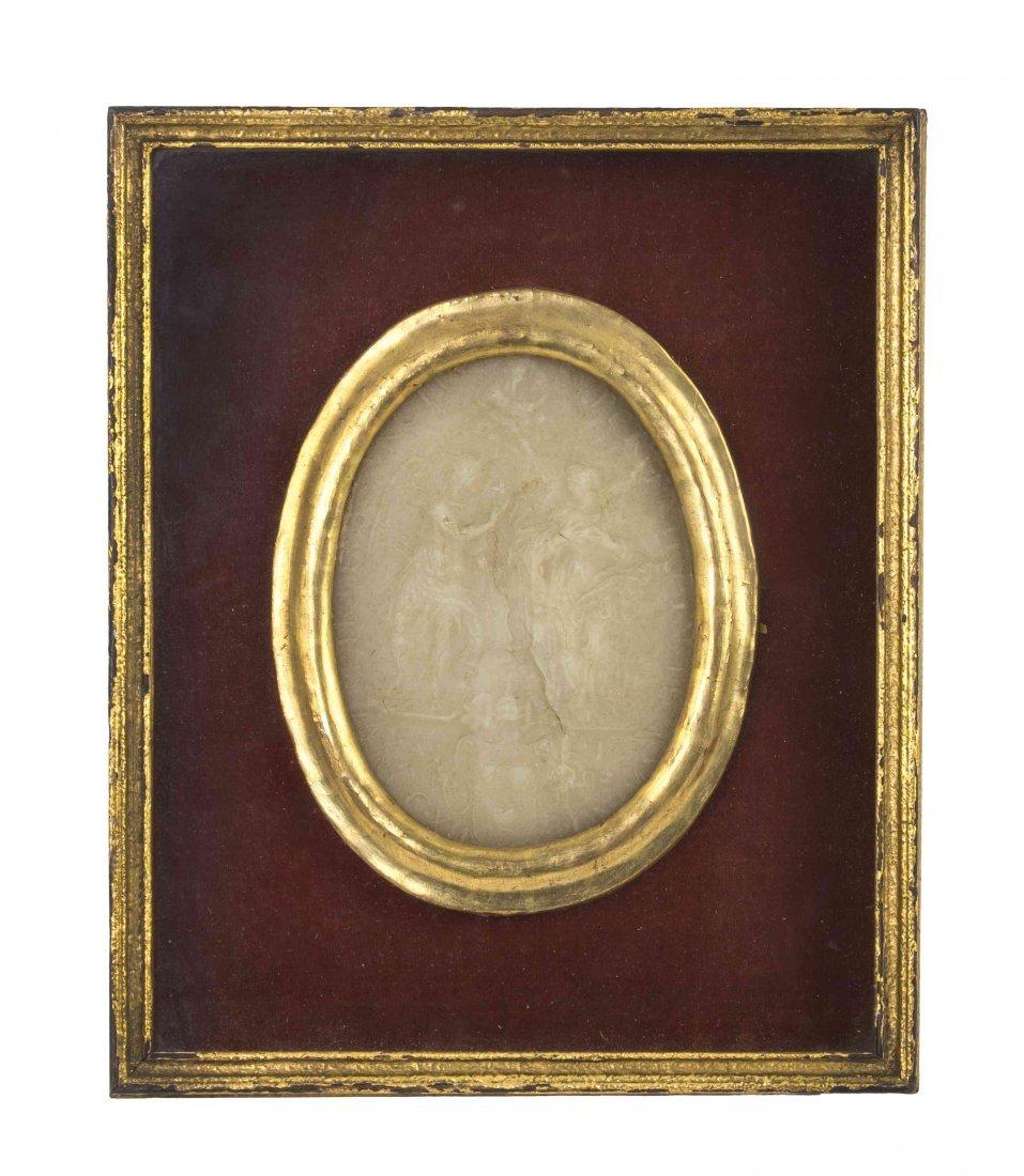An English Wax Medallion, Height 5 1/8 x width 3 3/4