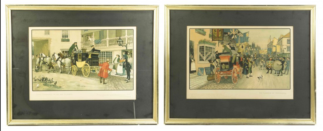 Two English Lithographs from Dickens' Coaching Series,