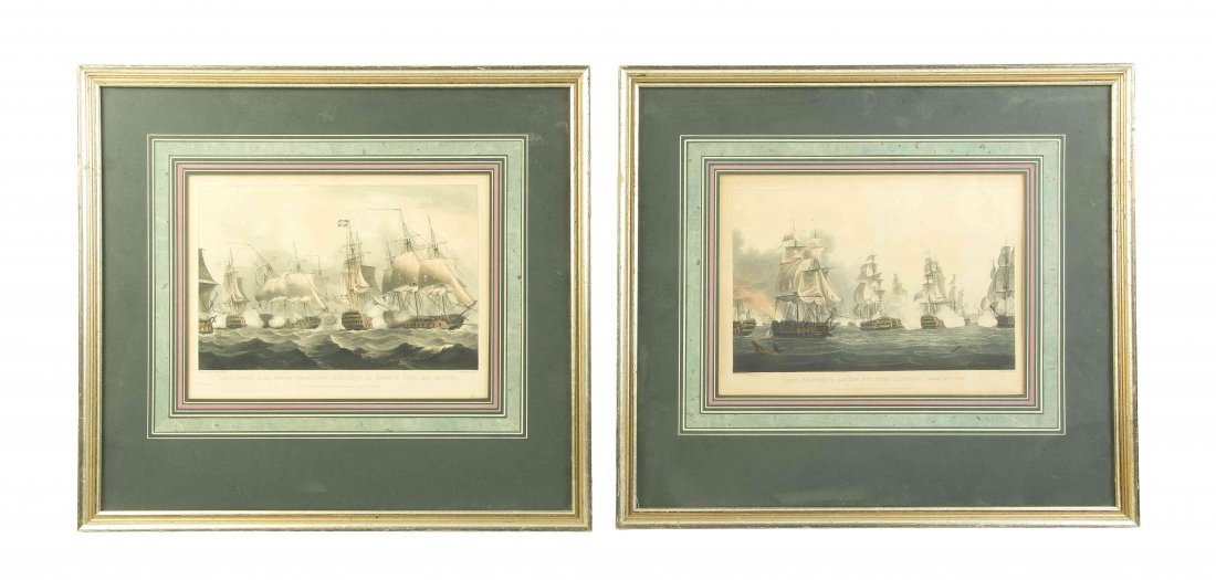 A Pair of English Handcolored Engravings, Height