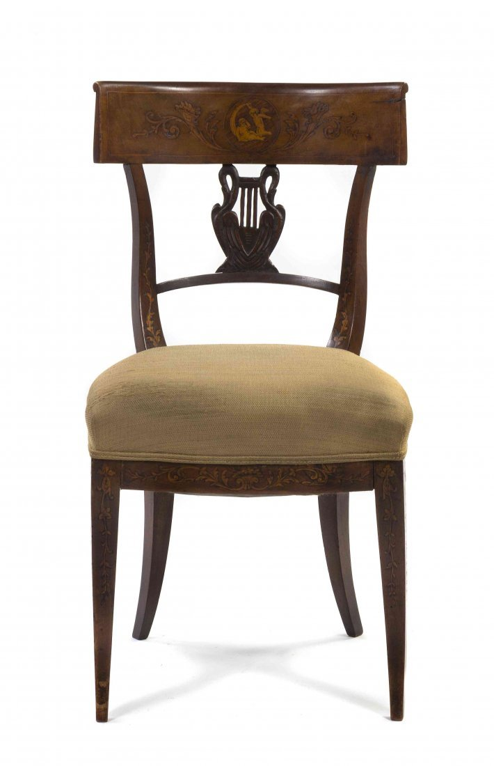 A Neoclassical Marquetry Side Chair, Height 36 inches.