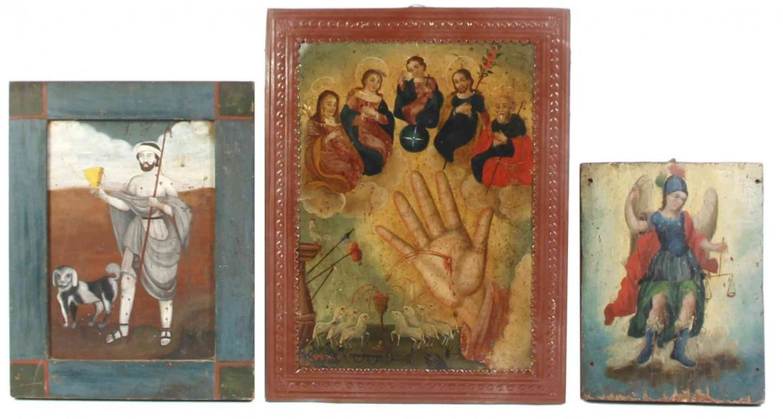 Three Mexican Retablos, Height of largest overall 15