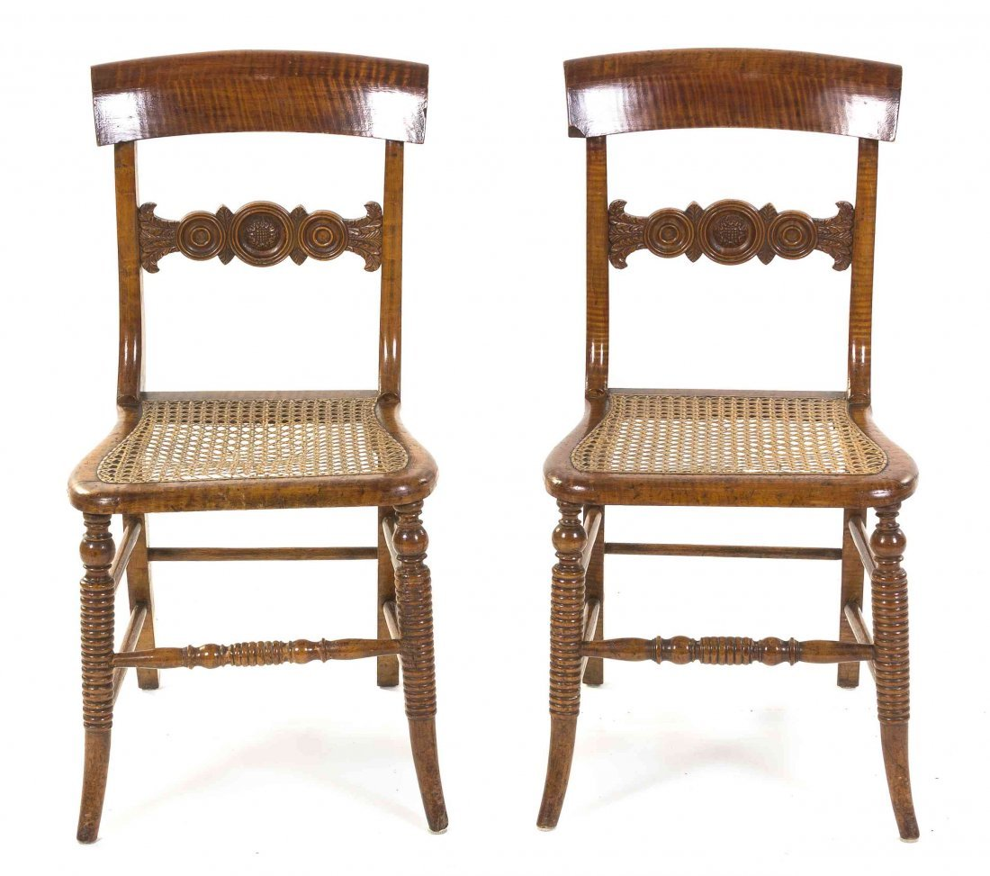 A Pair of American Tiger Maple Side Chairs, Height 32