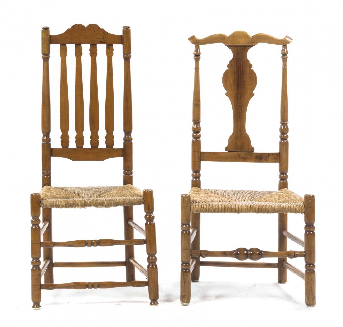 Two American Maple Side Chairs, Height of taller 41